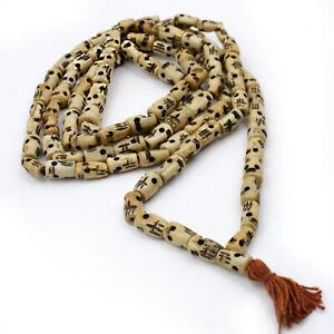 Kali Mala 140 CM Portée Rosaire Tête de Mort Inde Hindouisme Om OS Beige