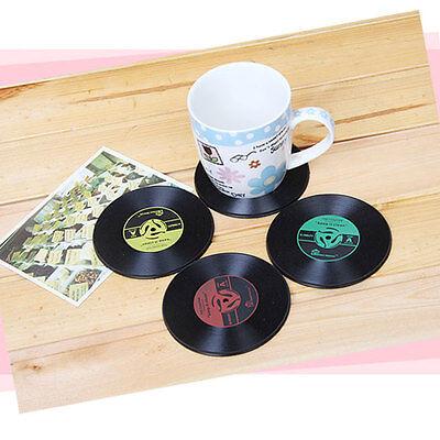 2pcs Silicone Record Drinks Cup Mug Coaster Mat Cushion Placemat Home Bar