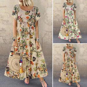 UK-Womens-Short-Sleeve-Floral-Bohemia-Ladies-Summer-Beach-Maxi-Dresses-Kaftan