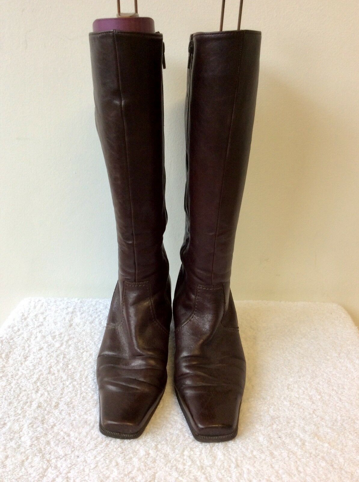 GABOR BROWN LEATHER KNEE LENGTH BOOTS SIZE 5.5   38.5