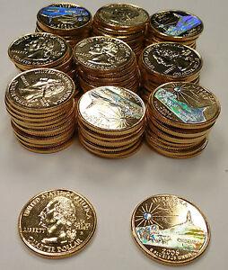 Nebraska 100 Pieces 2006 Chimney Rock Gold State Quarters w// Hologram