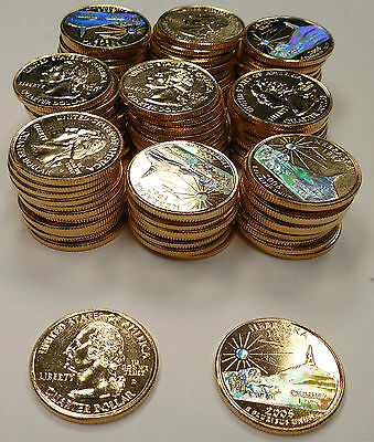 2006-South Dakota-Gold State Quarters with Hologram-100 Pieces-Mount Rushmore