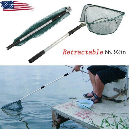Telescopic Folding Aluminum Handle Fishing Landing Net 3 Section Extending PoleS