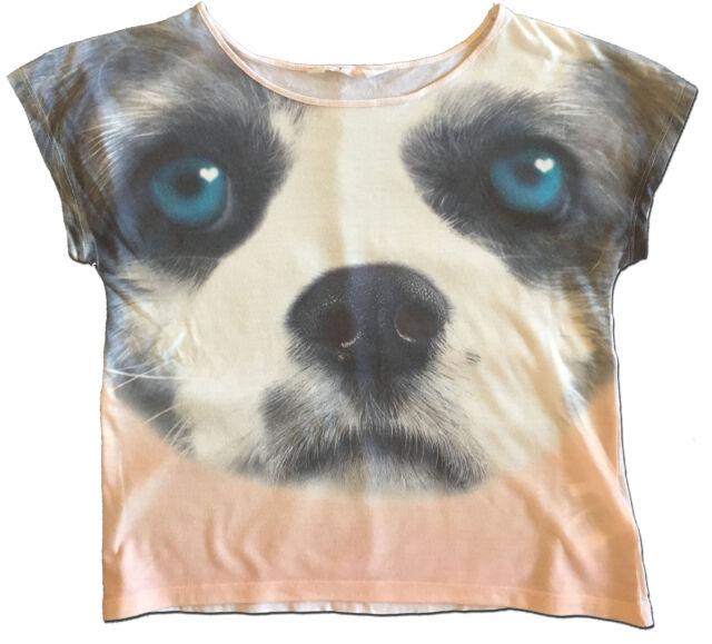 Fun H & M Size 14-16 Girl's Cropped Photo Real Dog Tee