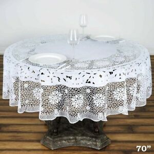 """White Crochet Lace Plastic 70"""" Round TABLECLOTHS Wedding ..."""