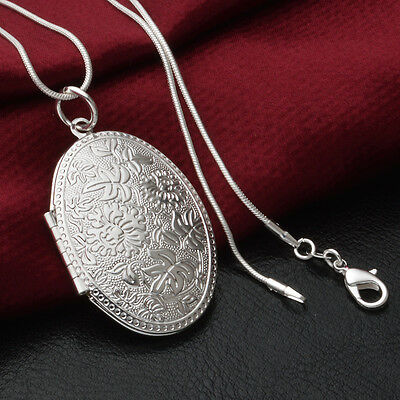 925 sterling Silver plated Box Locket Snake Chain Necklace Pendant Locket