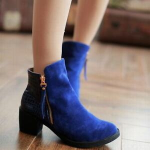 Womens-Chunky-High-Heels-Platform-Faux-Suede-Riding-Ankle-Boots-Side-Zip-Shoes