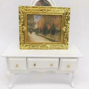 1-12-Puppenhaus-Miniatur-Gold-Rahmen-Kunst-Wandbild-Landschaft-Olge-Herbst-D8A6