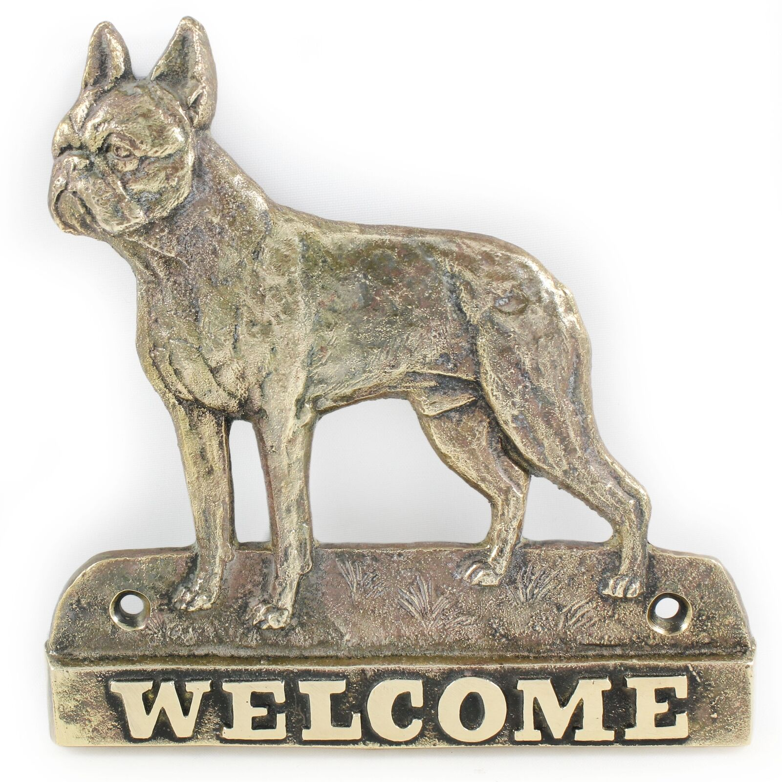 Boston Terrier - brass tablet with image of a dog, Art Dog