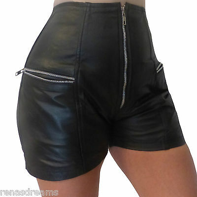 Lederhose shorts Hose hot pants ECHT LEDER leather Geschenkidee Highwaiste Damen