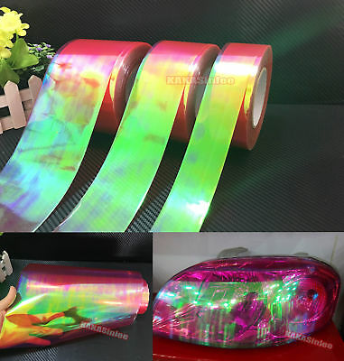 Glossy Car Red Chameleon Headlight Taillight Vinyl Wrap Tint Tape Sticker CF