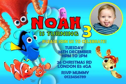 invites Finding Nemo Finding Dory invitations thank you cards personalised x10