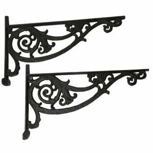 Pair-of-Huge-Cast-Iron-Shelf-Brackets-16-x-10-Black-Garden-Corbel-Ornate-Rustic