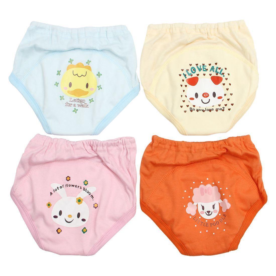 4x Baby Toddler Girls Boy Cute 4 Layers Waterproof Potty Training Pants Random. 4