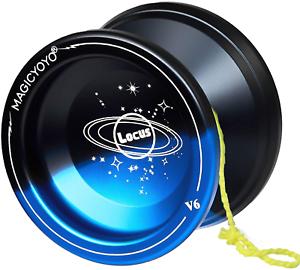 Magic Yoyo Ball V6 Locus Space Yoyo Aluminum Metal Responsive Yoyos Ball Bearing for Kids Beginners Learner with Bag Glove 5 Strings Red