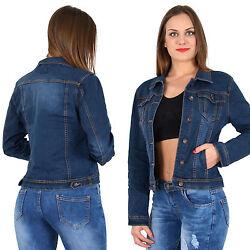 Damen Jeans Jacke Langarm Jeansjacke blaue Jeans Jacke bis Übergröße M340
