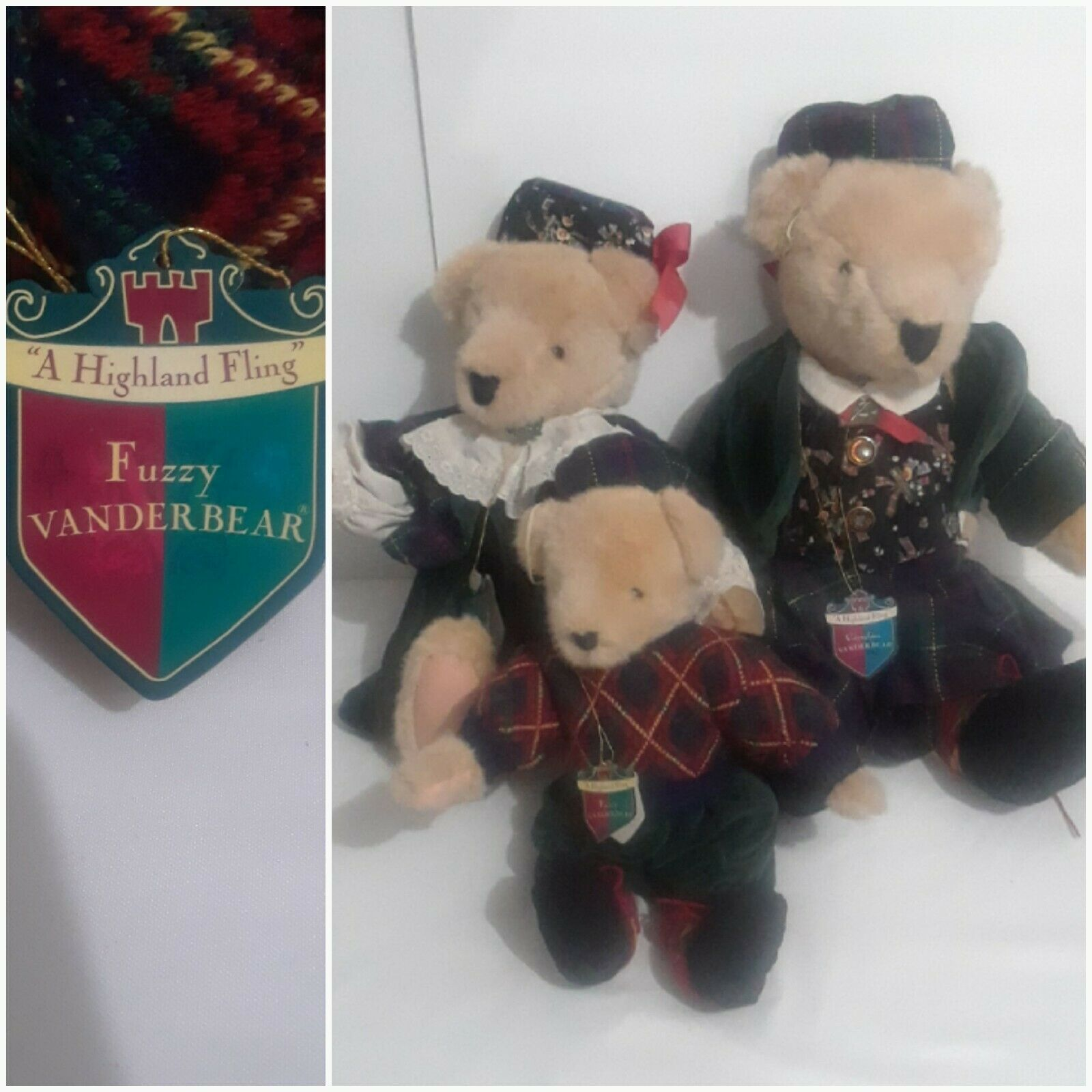 Vtg Vanderbear Plush Family,  A hochland Fling  Masse of 3 Collectable Teddybears