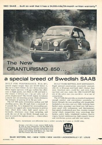 1962 Saab 850 GT Race Classic Advertisement Ad PE25