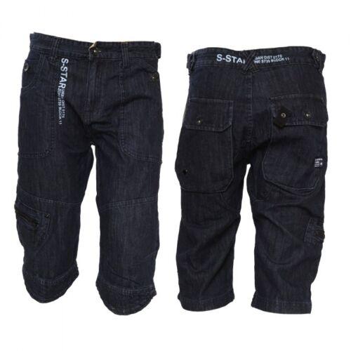 Combat Pantaloncini TASCHE BUTTON /& Zip Da Uomo Scuro Blu Navy Denim Jean Cargo