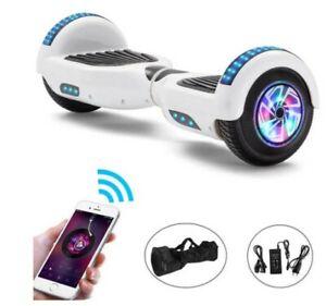Hoverboard 6.5 pouces Bluetooth  avec LED blanc électrique planche à roulettes