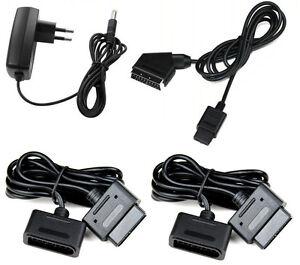 Super-Nintendo-RGB-Scart-Kabel-2x-Verlaengerungskabel-Netzteil-fuer-SNES