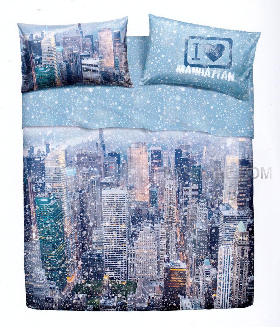 Set Lenzuola   Copriletto Matrimoniale Weiß New York Manhattan Imagine Bassetti