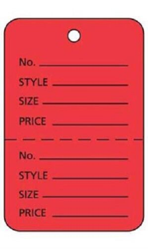 """100 Perforated Tags Price Sale 1 ¾/"""" x 2 ⅞"""" Two Part Red Merchandise Clothing"""