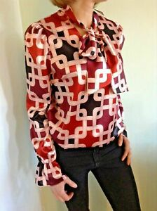John-Zack-Pussy-bow-Tie-V-Neck-Blouse-Shirt-Top-Chain-print-Ladies-UK