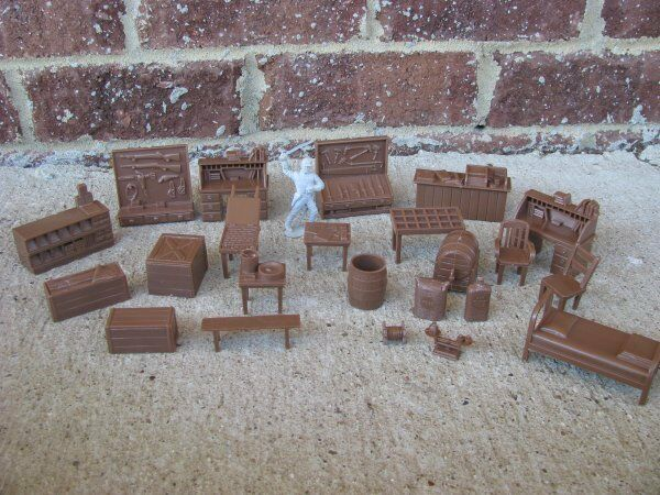 NEW MARX WESTERN TOWN FURNITURE FARM JAIL SET ACCESSORY 1/32 54MM TOY SOLDIER