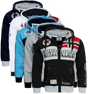 Felpa-GEOGRAPHICAL-NORWAY-Uomo-Men-Flyer-Regular-Fit-Full-Zip-Anapurna-Cappuccio
