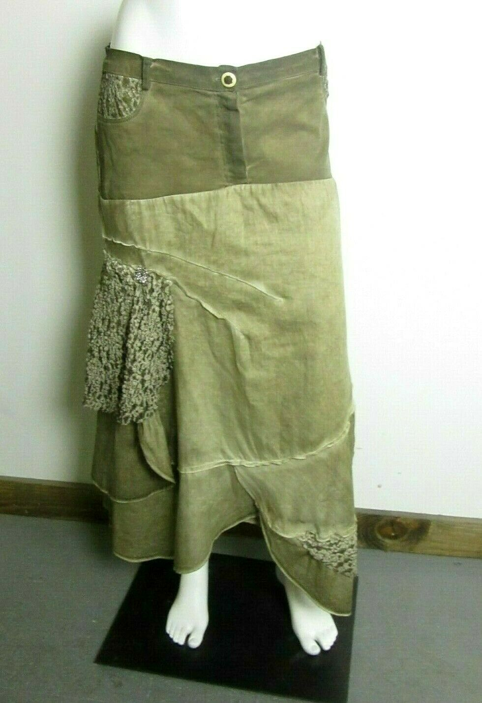 Elisa Cavaletti Club Women's Olive Green Boho Layered Lacy Accent Mid-Maxi Skirt