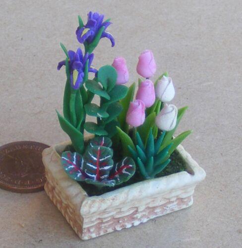 1:12 Maßstab Gemischte Blumen Feste IN Keramik Bett Tumdee Puppenhaus Garten