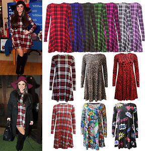 Womens-Red-Green-Tartan-Check-Print-Long-Sleeve-Swing-Skater-Dress-plus-size8-24