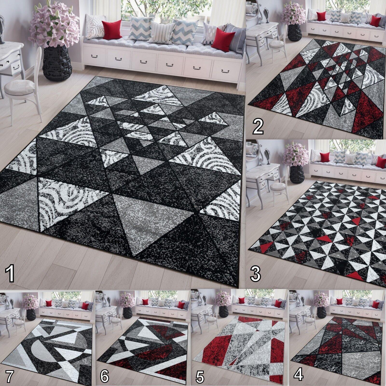 Modern Abstract Rug Geometric Pattern Cheap Price in grau Weiß rot Triangles