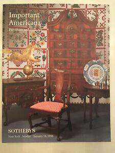 Auction Catalog Sotheby S Important Americana Furniture And Folk Art Jan 1998 Ebay