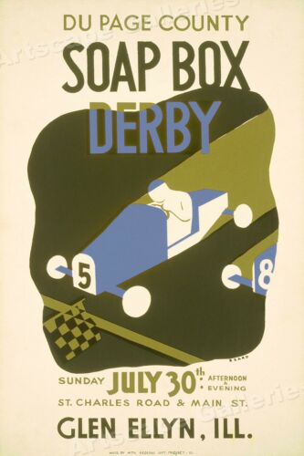 1939 Soap Box Derby Race Car Vintage Style WPA Art Project Poster - 16x24