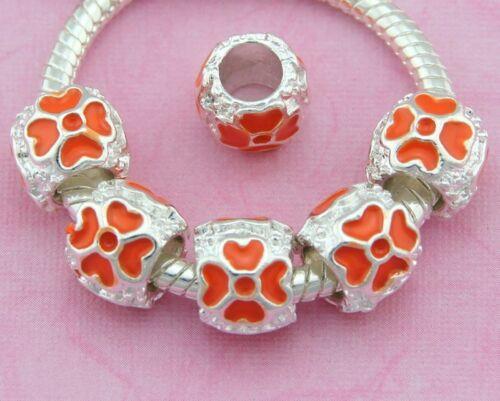 Four Leaf Clover Silver Tone Enamel Beads For Charm Bracelet Pick Qty E30