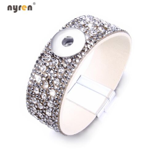 Multi Rhinestone Snap Charms Bracelet Fit 18mm Snap Button Snap Jewelry 0655