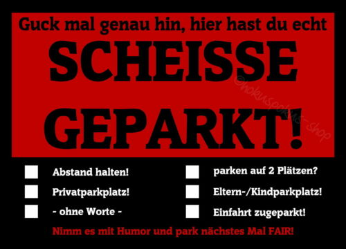 Notizblock geleimt Humor Fair Geschenkidee Autofahrer Echt Scheisse Geparkt