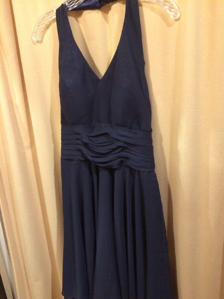 CLASSIC NAVY HALTER No Label Navy Blue Chiffon Dress Bust 36
