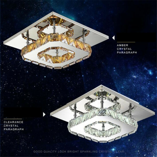 Square Crystal Hanging Ceiling Fixture Pendant Lamp Lighting Hanging Chandelier