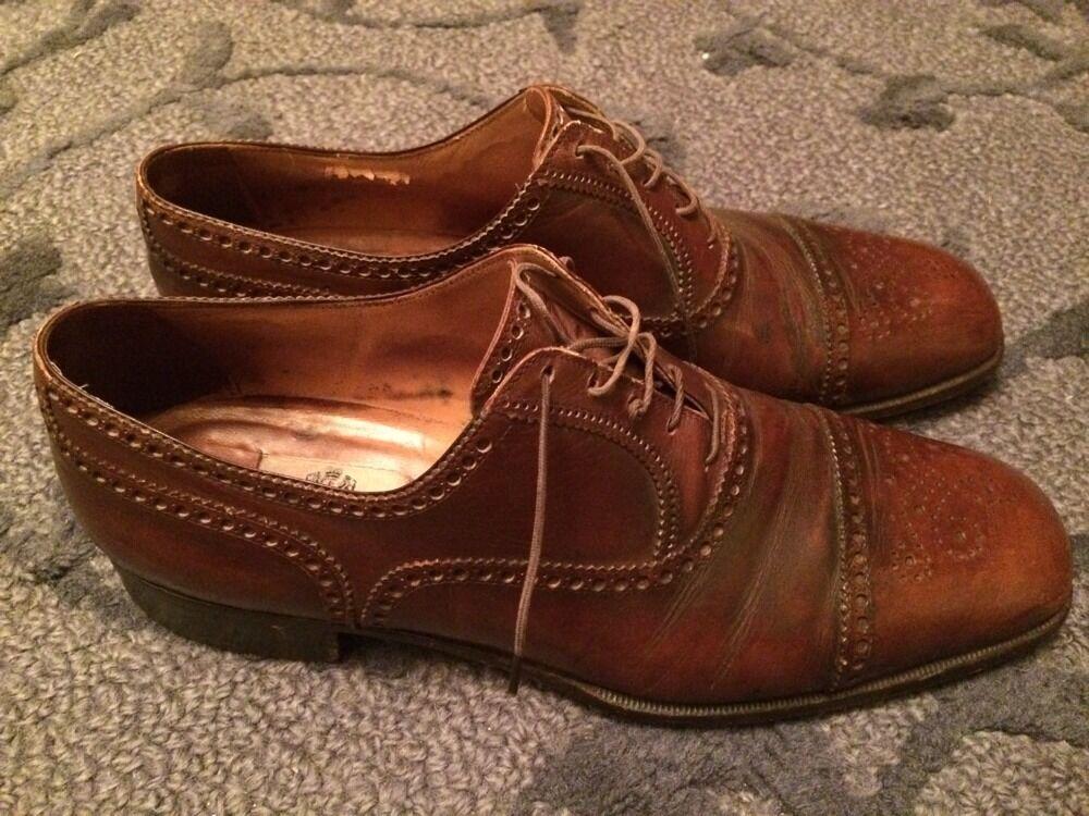 A. TESTONI Brown Perf Tip Cap Toe  SHOES 11 CXF Scarpe classiche da uomo