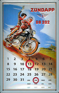 Zündapp DB 202 Kalender Blechschild Schild 3D geprägt Metal Tin Sign 20 x 30 cm