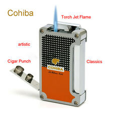 Cohiba  Classic Metal Torch  Jet Frame Cigar Cigarette lighter With 2 Punch