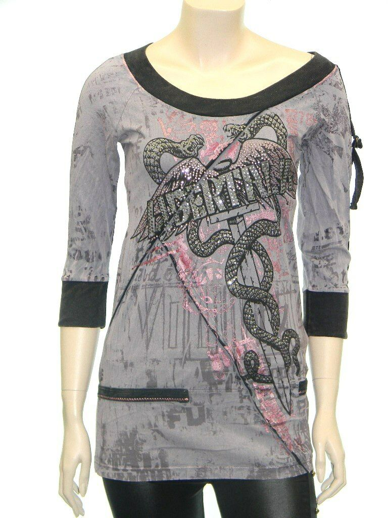 Round Neck Mineral Wash Metalic Printed Top T-shirts LRE1006