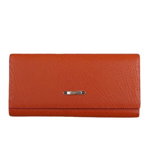 Femme//femme haute qualité en cuir synthétique porte-monnaie tri-fold marron orange violet