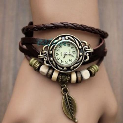 Retro Womens Girls Leaf Beads Braided Bracelet Leather Quartz Wrist Watch