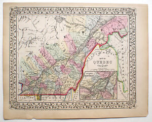Map Of Canada 1870.Details About 1870 Quebec Canada Mitchell Antique Hand Colored Map