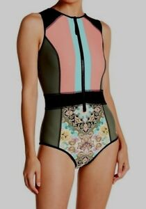 Body-Glove-Womens-Pompei-Rise-Up-Paddle-One-Piece-Swimsuit-Front-Zip-Medium-M