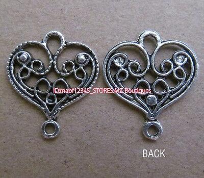 PJ073 15pcs Tibetan Silver Charm Peach Hearts Retro Accessories Wholesale